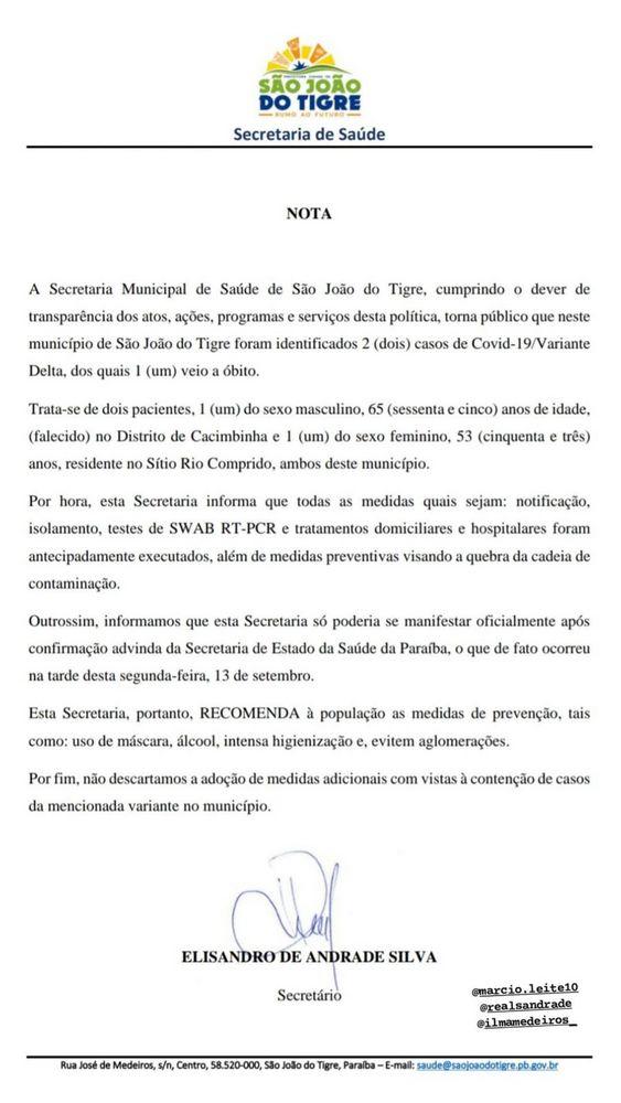 csm nota sao joao 7c78021259 - Paraíba confirma nova morte pela variante Delta no Cariri do estado; confira